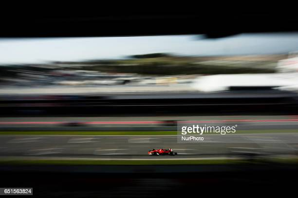 Sebastian Vettel from Germany of Ferrari SF70H team scuderia Ferrari in action during the Formula One winter testing at Circuit de Catalunya on March...