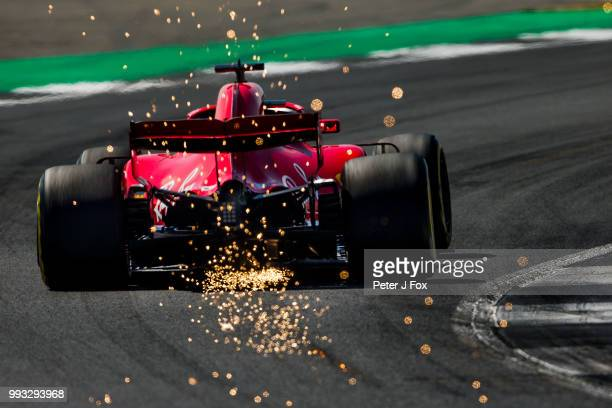 Sebastian Vettel of Ferrari and Germany during final practice for the Formula One Grand Prix of Great Britain at Silverstone on July 7 2018 in...