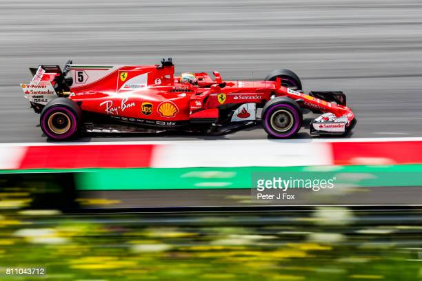 Sebastian Vettel of Ferrari and Germany during qualifying for the Formula One Grand Prix of Austria at Red Bull Ring on July 8 2017 in Spielberg...