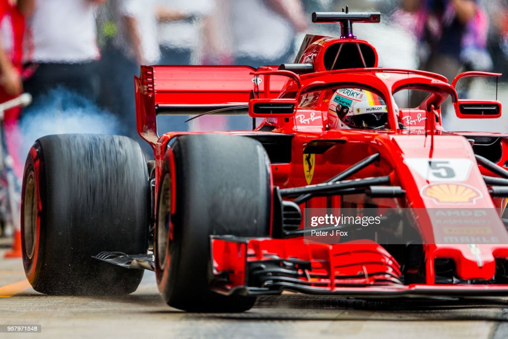 Sebastian Vettel of Ferrari and Germany during qualifying for the Spanish Formula One Grand Prix at Circuit de Catalunya on May 12, 2018 in Montmelo, Spain.