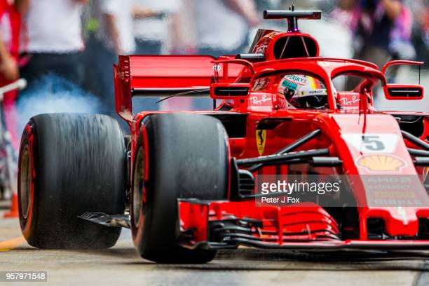 Sebastian Vettel of Ferrari and Germany during qualifying for the Spanish Formula One Grand Prix at Circuit de Catalunya on May 12 2018 in Montmelo...
