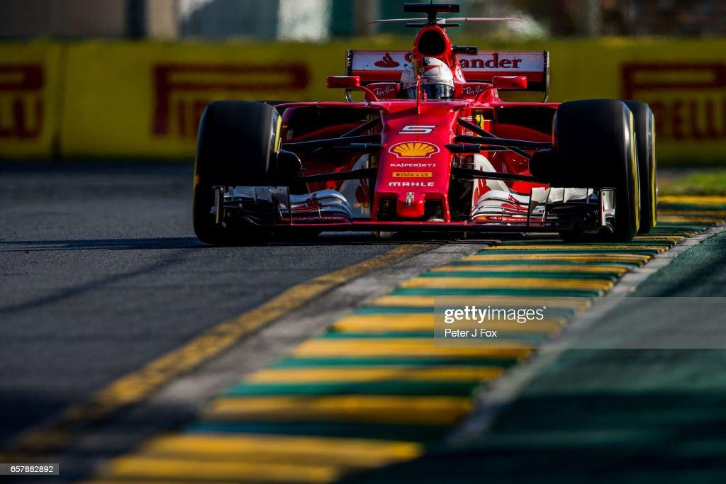 Sebastian Vettel of Ferrari and Germany during the Australian Formula One Grand Prix at Albert Park on March 26, 2017 in Melbourne, Australia.