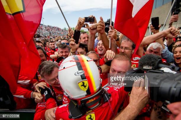 Sebastian Vettel of Ferrari and Germany during the Canadian Formula One Grand Prix at Circuit Gilles Villeneuve on June 10 2018 in Montreal Canada
