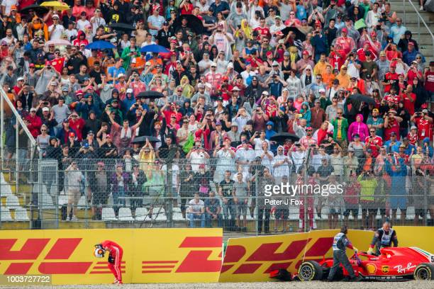Sebastian Vettel of Ferrari and Germany during the Formula One Grand Prix of Germany at Hockenheimring on July 22 2018 in Hockenheim Germany
