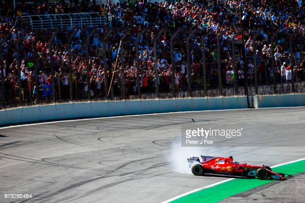 Sebastian Vettel of Ferrari and Germany during the Formula One Grand Prix of Brazil at Autodromo Jose Carlos Pace on November 12 2017 in Sao Paulo...