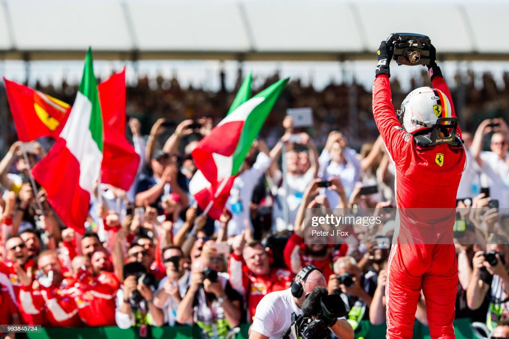 Sebastian Vettel of Ferrari and Germany wins the Formula One Grand Prix of Great Britain at Silverstone on July 8, 2018 in Northampton, England.