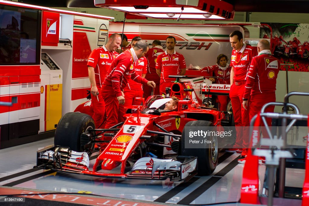 Sebastian Vettel of Ferrari and Germany with the latest FIA crash screen during previews ahead of the Formula One Grand Prix of Great Britain at Silverstone on July 13, 2017 in Northampton, England.