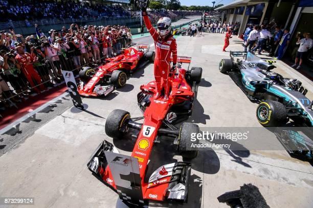 Sebastian Vettel of Ferrari celebrates the victory in 2017 Formula One Brazil Grand Prix at the Jose Carlos Pace racetrack in Sao Paulo Brazil on...
