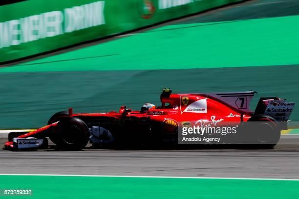 Sebastian Vettel of Ferrari team competes during the Brazilian Formula One Grand Prix at the Jose Carlos Pace racetrack in Sao Paulo Brazil on...