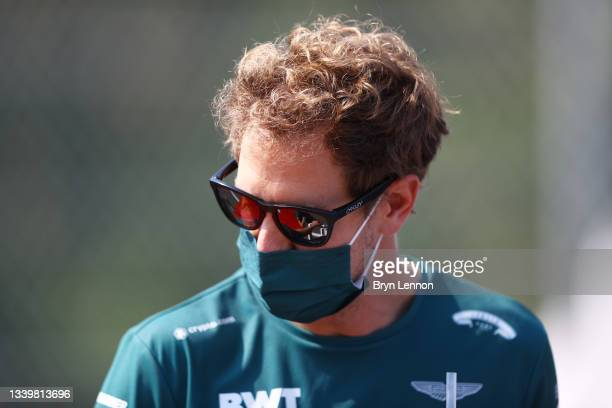 Sebastian Vettel of Germany and Aston Martin F1 Team looks on before the F1 Grand Prix of Italy at Autodromo di Monza on September 12, 2021 in Monza,...