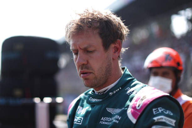 Sebastian Vettel of Germany and Aston Martin F1 Team prepares to drive on the grid during the F1 Grand Prix of Italy at Autodromo di Monza on...
