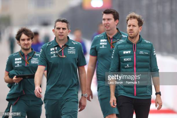 Sebastian Vettel of Germany and Aston Martin F1 Team walks the track during previews ahead of the F1 Grand Prix of Russia at Sochi Autodrom on...