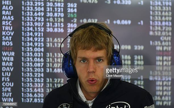 Sebastian Vettel of Germany and BMW Sauber sits in the pits during practice for the European Grand Prix at Nurburgring on July 20, 2007 in Nurburg,...