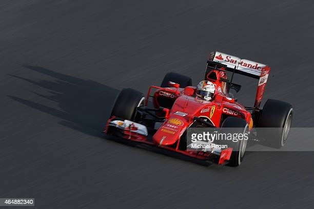 Sebastian Vettel of Germany and Ferrari drives during day four of the final Formula One Winter Testing at Circuit de Catalunya on March 1 2015 in...
