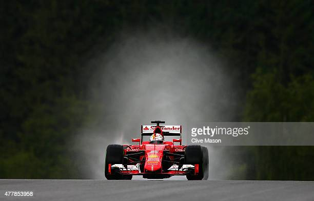 Sebastian Vettel of Germany and Ferrari drives during final practice for the Formula One Grand Prix of Austria at Red Bull Ring on June 20 2015 in...