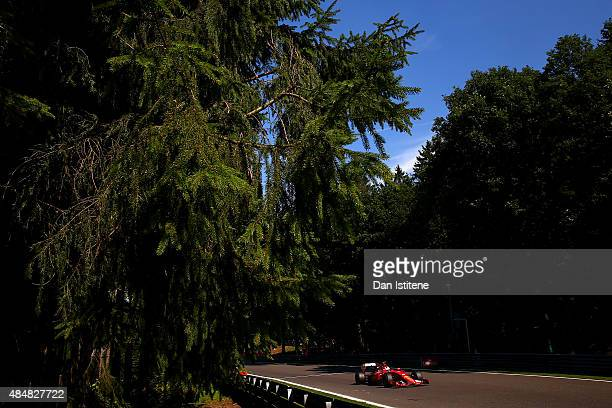 Sebastian Vettel of Germany and Ferrari drives during final practice for the Formula One Grand Prix of Belgium at Circuit de SpaFrancorchamps on...