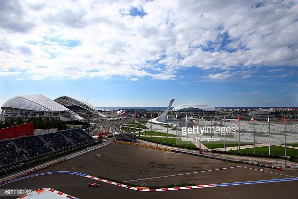 Sebastian Vettel of Germany and Ferrari drives during final practice for the Formula One Grand Prix of Russia at Sochi Autodrom on October 10 2015 in...