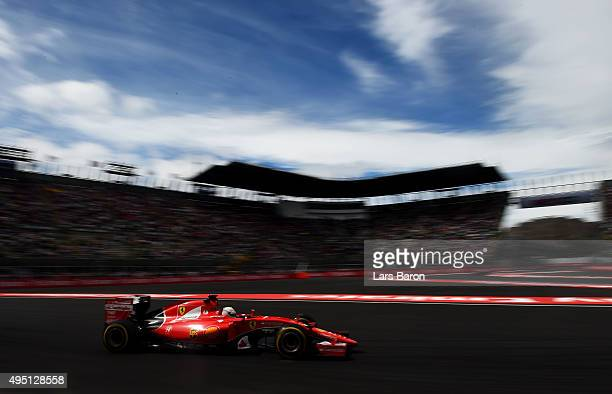 Sebastian Vettel of Germany and Ferrari drives during final practice for the Formula One Grand Prix of Mexico at Autodromo Hermanos Rodriguez on...