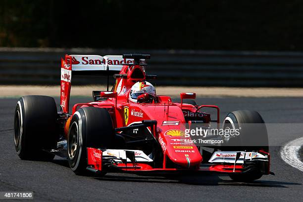 Sebastian Vettel of Germany and Ferrari drives during practice for the Formula One Grand Prix of Hungary at Hungaroring on July 24 2015 in Budapest...