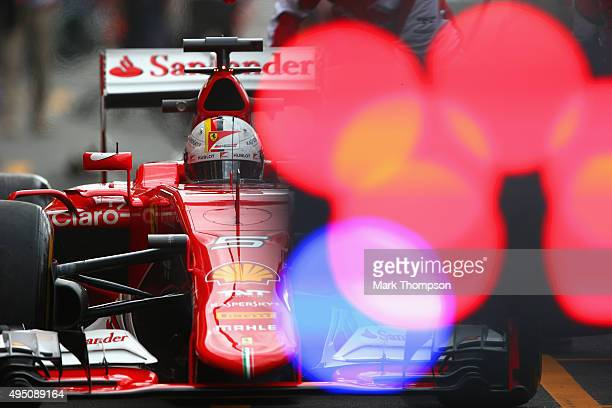 Sebastian Vettel of Germany and Ferrari drives during practice for the Formula One Grand Prix of Mexico at Autodromo Hermanos Rodriguez on October 30...