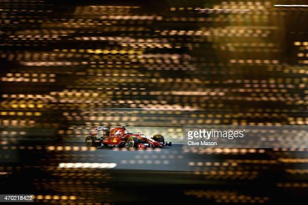 Sebastian Vettel of Germany and Ferrari drives during qualifying for the Bahrain Formula One Grand Prix at Bahrain International Circuit on April 18...