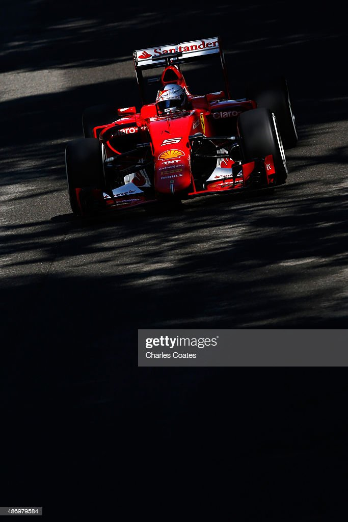 Sebastian Vettel of Germany and Ferrari drives during qualifying for the Formula One Grand Prix of Italy at Autodromo di Monza on September 5, 2015 in Monza, Italy.