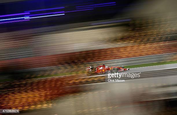 Sebastian Vettel of Germany and Ferrari drives during the Bahrain Formula One Grand Prix at Bahrain International Circuit on April 19 2015 in Bahrain...