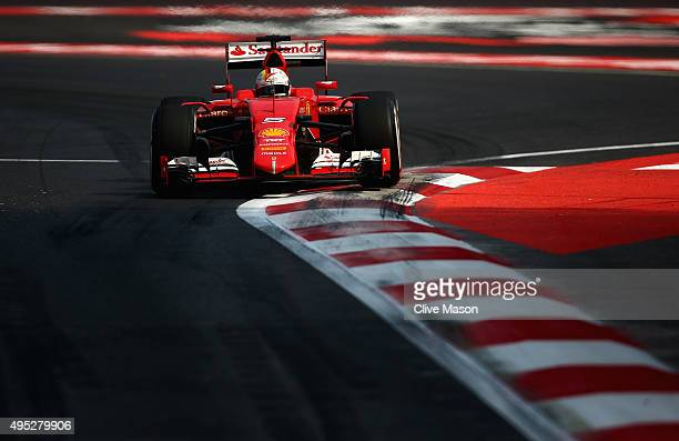 Sebastian Vettel of Germany and Ferrari drives during the Formula One Grand Prix of Mexico at Autodromo Hermanos Rodriguez on November 1 2015 in...