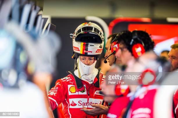 Sebastian Vettel of Germany and Ferrari during the Azerbaijan Formula One Grand Prix at Baku City Circuit on June 25 2017 in Baku Azerbaijan