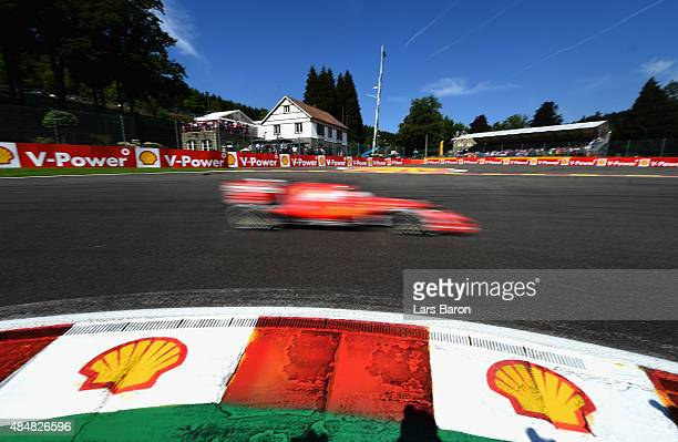 Sebastian Vettel of Germany and Ferrari in action during final practice for the Formula One Grand Prix of Belgium at Circuit de SpaFrancorchamps on...