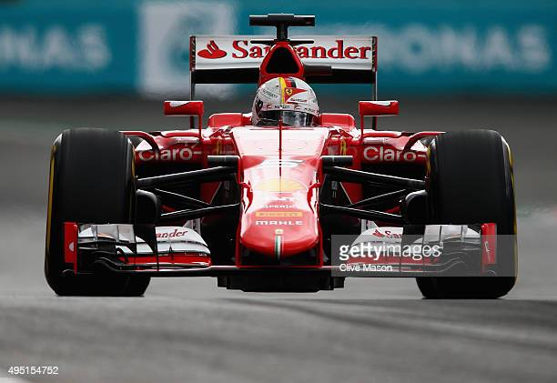 Sebastian Vettel of Germany and Ferrari in action during qualifying for the Formula One Grand Prix of Mexico at Autodromo Hermanos Rodriguez on...