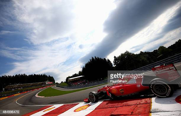 Sebastian Vettel of Germany and Ferrari in action during the Formula One Grand Prix of Belgium at Circuit de SpaFrancorchamps on August 23 2015 in...