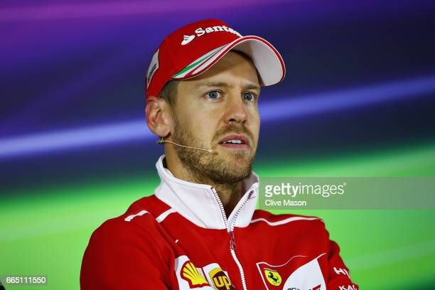 Sebastian Vettel of Germany and Ferrari in the Drivers Press Conference during previews to the Formula One Grand Prix of China at Shanghai...