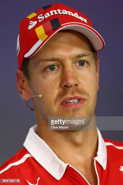 Sebastian Vettel of Germany and Ferrari in the Drivers Press Conference during previews ahead of the Formula One Grand Prix of Austria at Red Bull...