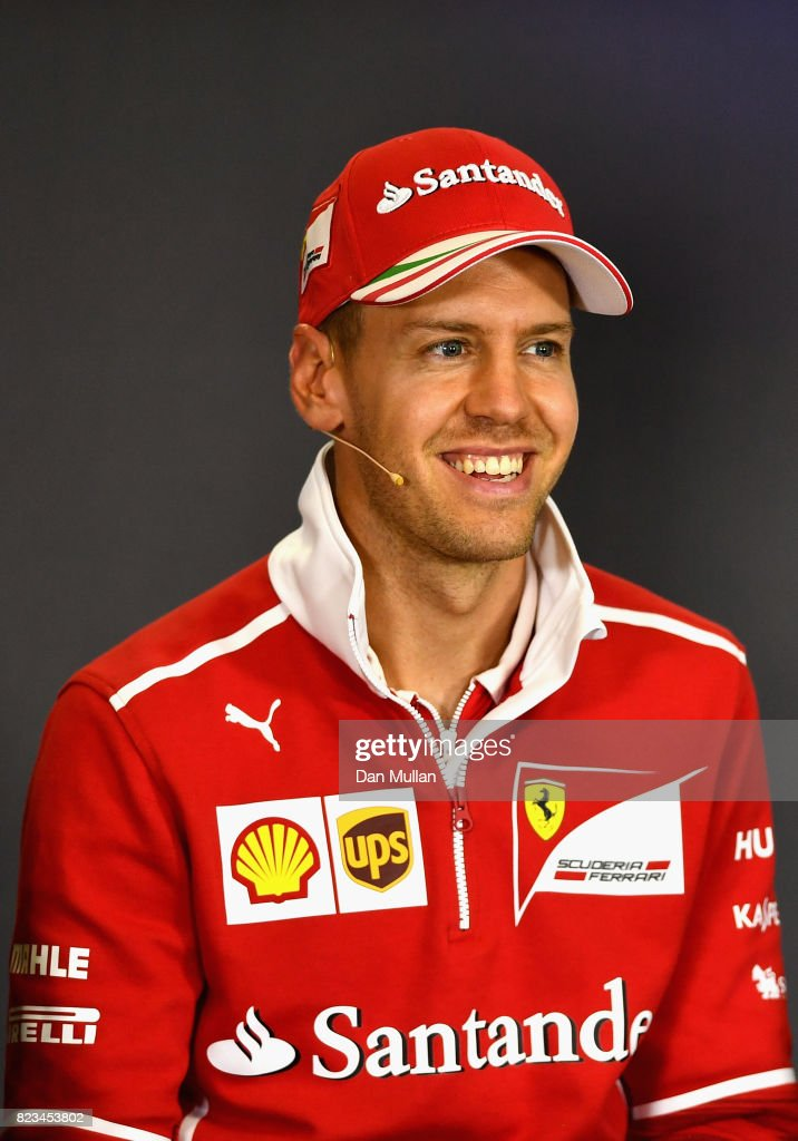Sebastian Vettel of Germany and Ferrari in the Drivers Press Conference during previews ahead of the Formula One Grand Prix of Hungary at Hungaroring on July 27, 2017 in Budapest, Hungary.
