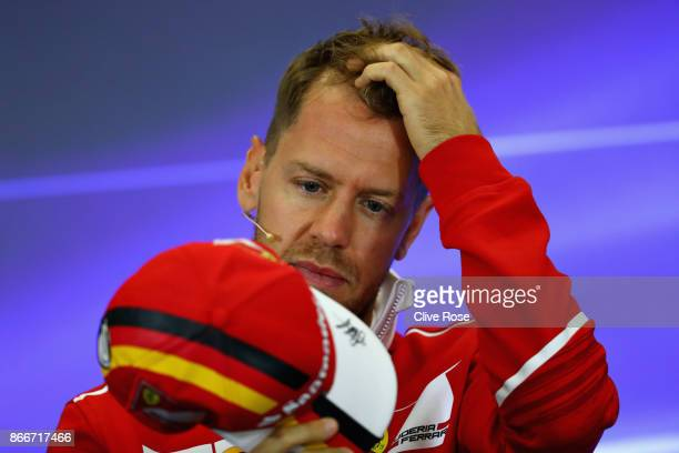 Sebastian Vettel of Germany and Ferrari in the Drivers Press Conference during previews to the Formula One Grand Prix of Mexico at Autodromo Hermanos...
