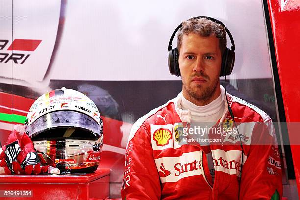 Sebastian Vettel of Germany and Ferrari in the garage during qualifying for the Formula One Grand Prix of Russia at Sochi Autodrom on April 30 2016...