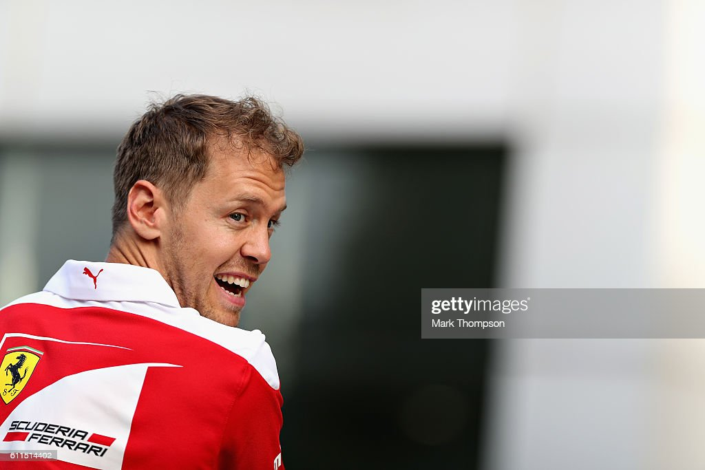 Sebastian Vettel of Germany and Ferrari in the Paddock after practice for the Malaysia Formula One Grand Prix at Sepang Circuit on September 30, 2016 in Kuala Lumpur, Malaysia.