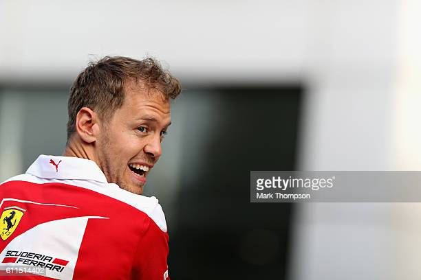 Sebastian Vettel of Germany and Ferrari in the Paddock after practice for the Malaysia Formula One Grand Prix at Sepang Circuit on September 30 2016...