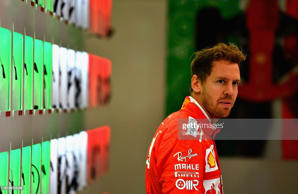 Sebastian Vettel of Germany and Ferrari in the Paddock during previews ahead of the Formula One Grand Prix of Great Britain at Silverstone on July 13, 2017 in Northampton, England.