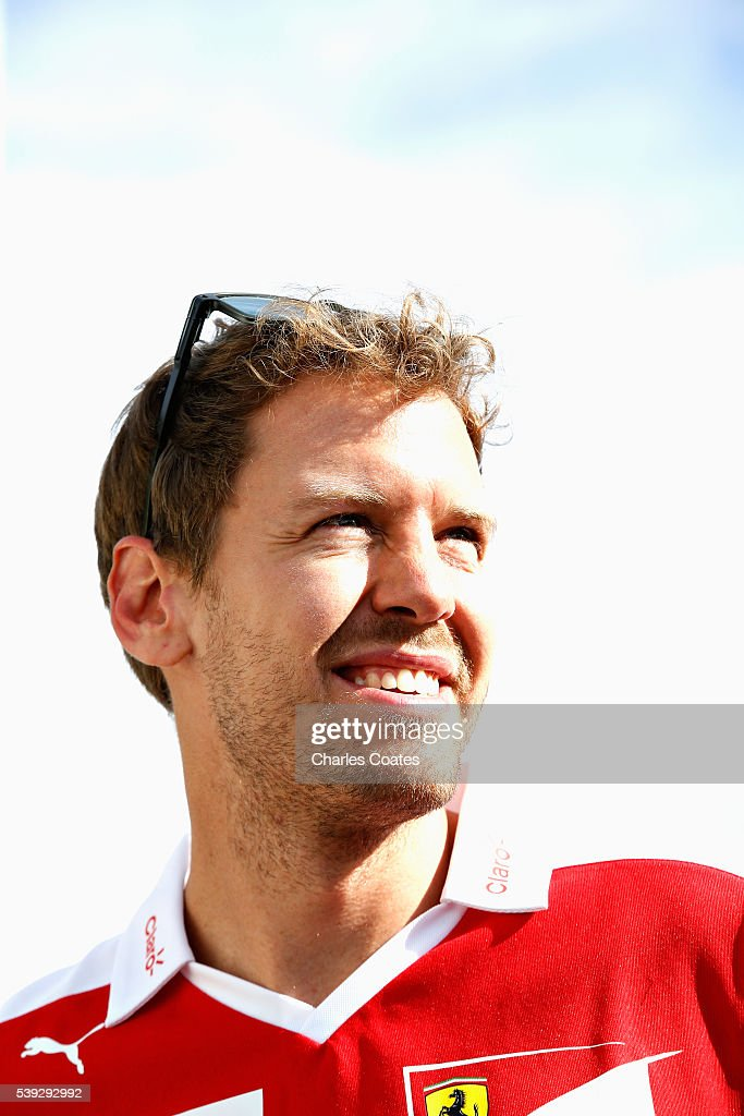 Sebastian Vettel of Germany and Ferrari in the Paddock during practice for the Canadian Formula One Grand Prix at Circuit Gilles Villeneuve on June 9, 2016 in Montreal, Canada.
