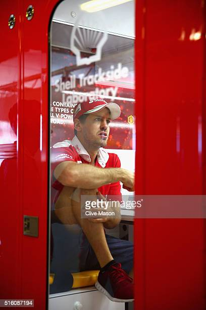 Sebastian Vettel of Germany and Ferrari in the Shell Trackside Laboratory during previews to the Australian Formula One Grand Prix at Albert Park on...