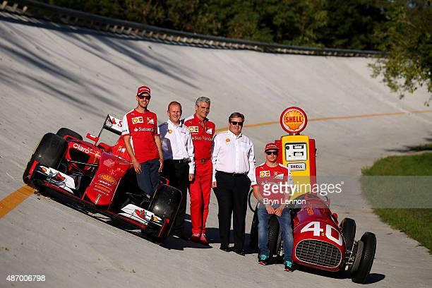 Sebastian Vettel of Germany and Ferrari Kimi Raikkonen of Finland and Ferrari Ferrari Team Principal Maurizio Arrivabene Istvan Kapitany and John...