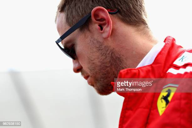 Sebastian Vettel of Germany and Ferrari looks on the grid before the Formula One Grand Prix of France at Circuit Paul Ricard on June 24, 2018 in Le...