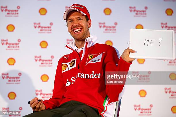 Sebastian Vettel of Germany and Ferrari on stage at the Shell media event during previews to the Canadian Formula One Grand Prix at Quai d'horloge on...