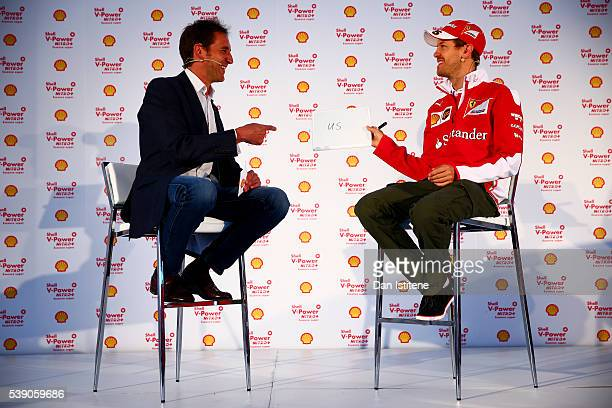 Sebastian Vettel of Germany and Ferrari on stage with Tom Clarkson at the Shell media event during previews to the Canadian Formula One Grand Prix at...