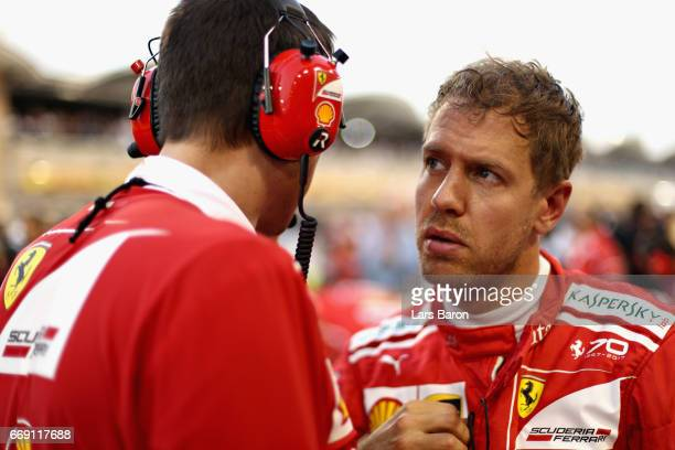 Sebastian Vettel of Germany and Ferrari on the grid before the Bahrain Formula One Grand Prix at Bahrain International Circuit on April 16 2017 in...