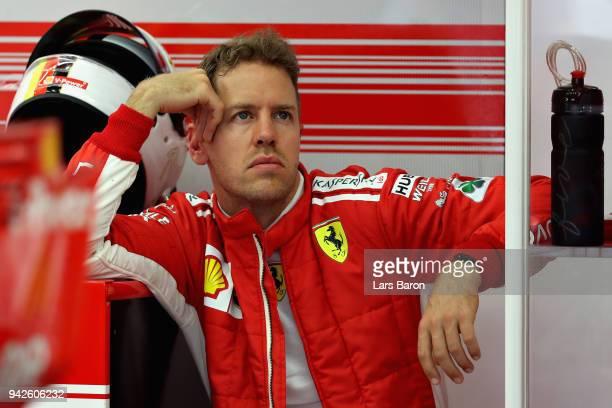 Sebastian Vettel of Germany and Ferrari prepares to drive during practice for the Bahrain Formula One Grand Prix at Bahrain International Circuit on...