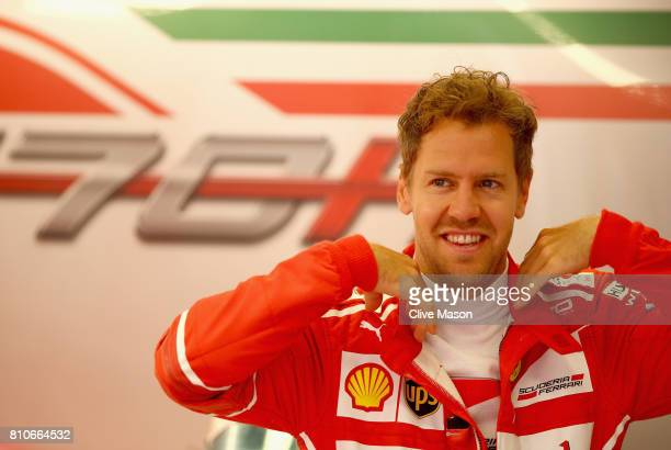 Sebastian Vettel of Germany and Ferrari prepares to drive during final practice for the Formula One Grand Prix of Austria at Red Bull Ring on July 8...