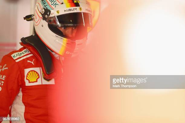 Sebastian Vettel of Germany and Ferrari prepares to drive during final practice for the Spanish Formula One Grand Prix at Circuit de Catalunya on May...